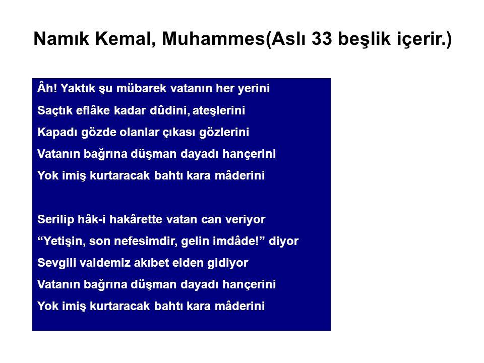 Namık Kemal, Muhammes(Aslı 33 beşlik içerir.)