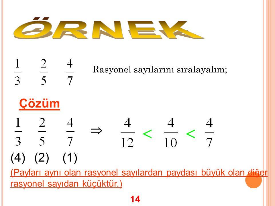  ÖRNEK Çözüm  (4) (2) (1) Rasyonel sayılarını sıralayalım;