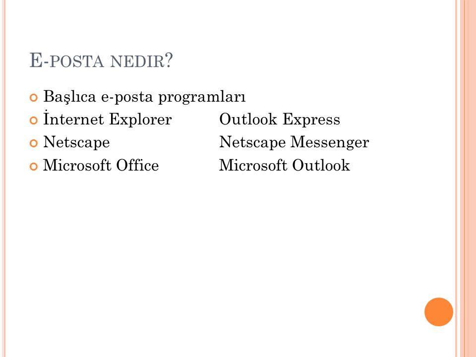 E-posta nedir Başlıca e-posta programları