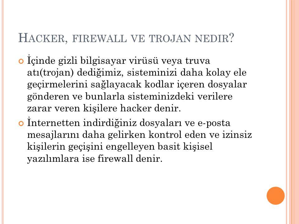Hacker, firewall ve trojan nedir