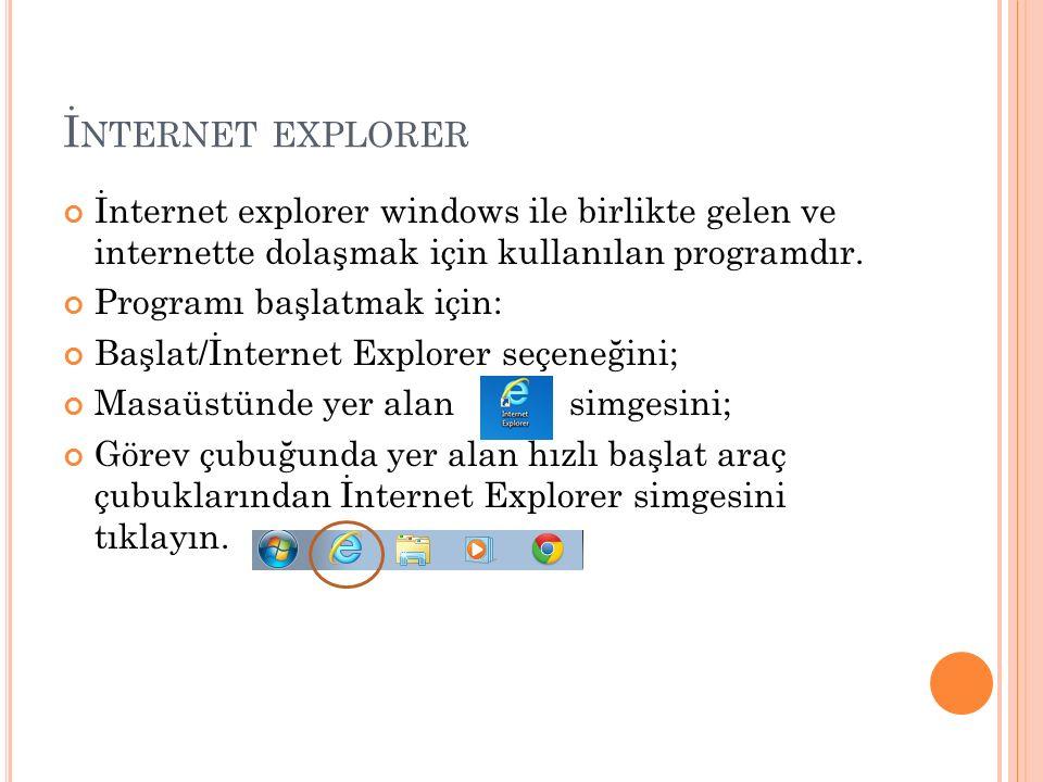 İnternet explorer İnternet explorer windows ile birlikte gelen ve internette dolaşmak için kullanılan programdır.