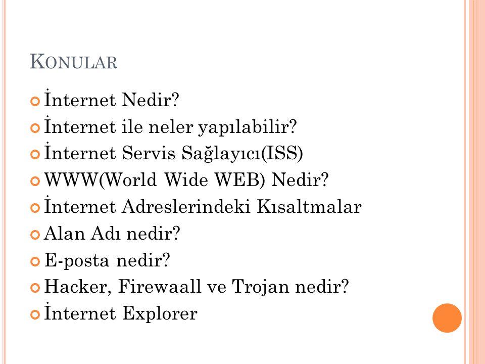 Konular İnternet Nedir İnternet ile neler yapılabilir