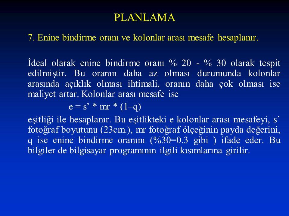 PLANLAMA 7. Enine bindirme oranı ve kolonlar arası mesafe hesaplanır.