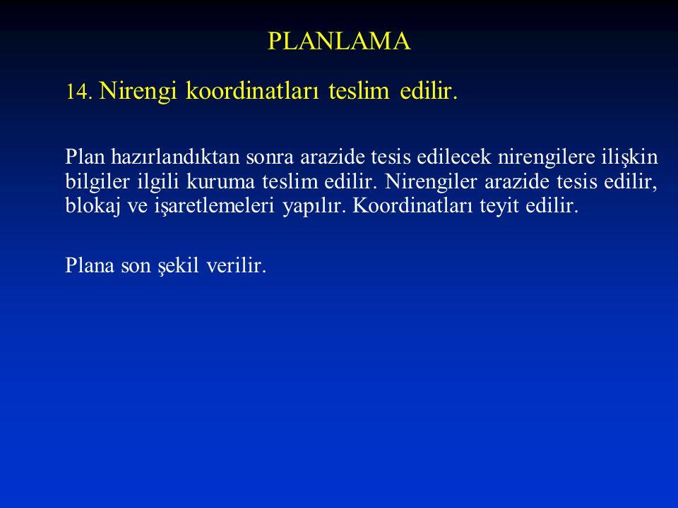 PLANLAMA 14. Nirengi koordinatları teslim edilir.
