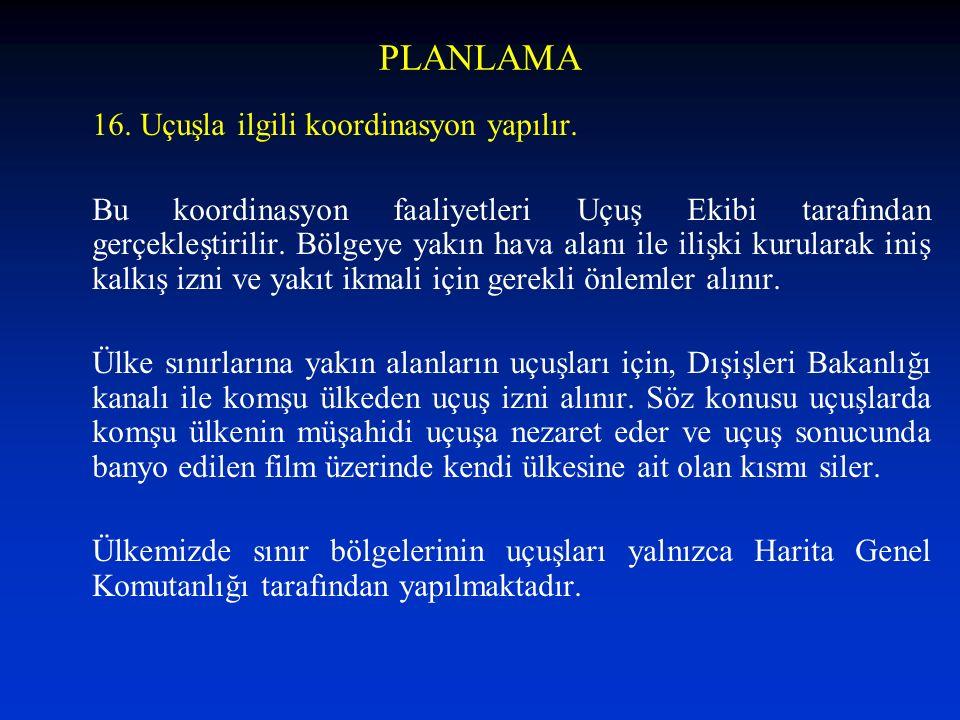 PLANLAMA 16. Uçuşla ilgili koordinasyon yapılır.