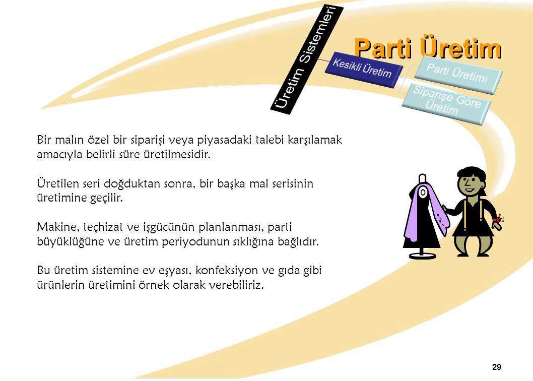 Parti Üretim Üretim Sistemleri Parti Üretimi Kesikli Üretim