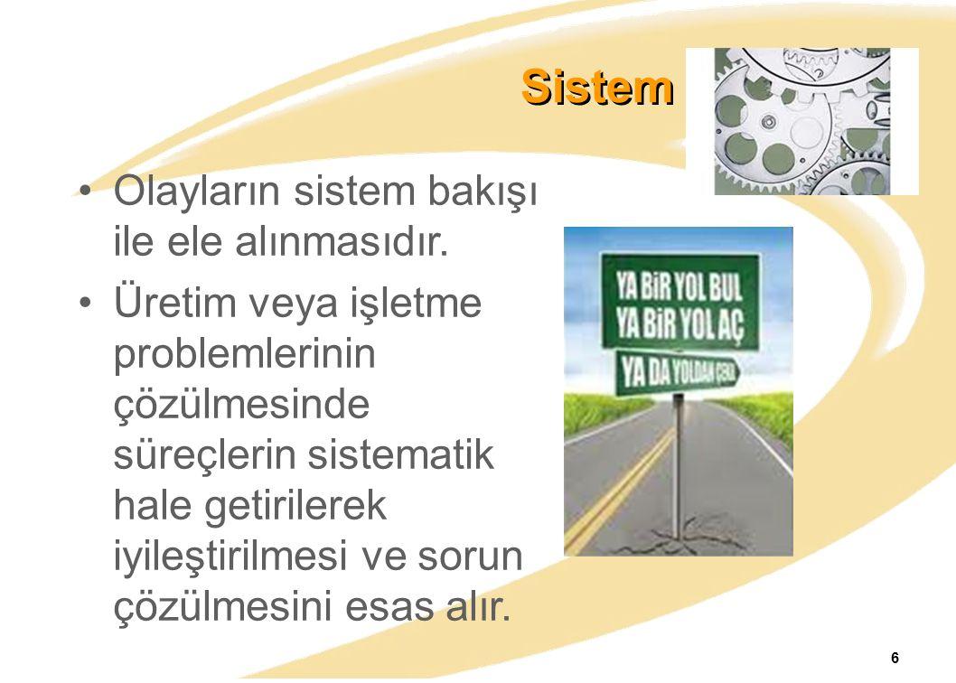 Sistem Yaklaşımı Olayların sistem bakışı ile ele alınmasıdır.