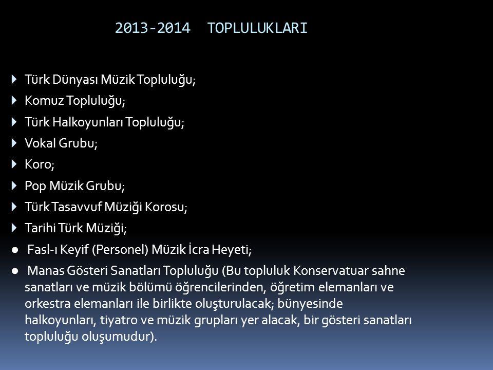 2013-2014 TOPLULUKLARI Türk Dünyası Müzik Topluluğu; Komuz Topluluğu;