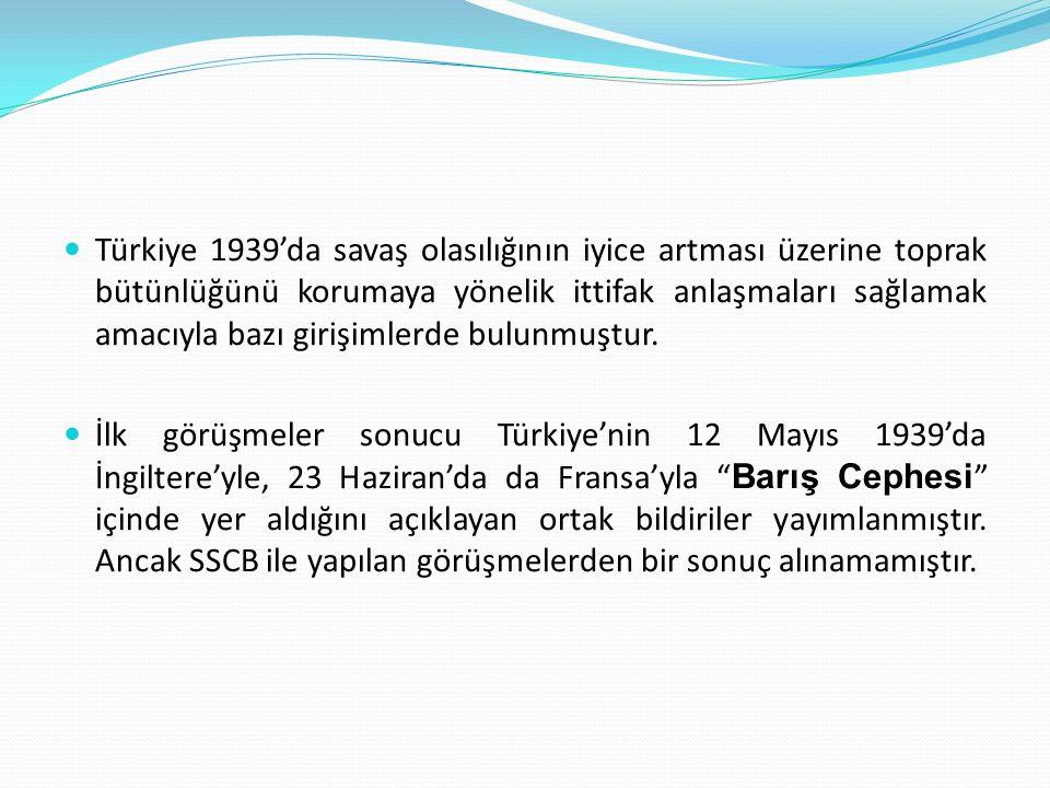Türkiye 1939'da savaş olasılığının iyice artması üzerine toprak bütünlüğünü korumaya yönelik ittifak anlaşmaları sağlamak amacıyla bazı girişimlerde bulunmuştur.