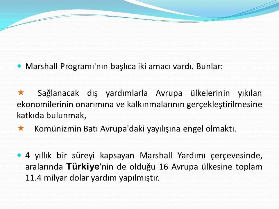 Marshall Programı nın başlıca iki amacı vardı. Bunlar: