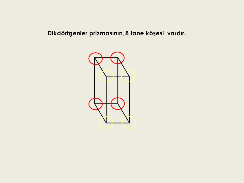 Dikdörtgenler prizmasının, 8 tane köşesi vardır.