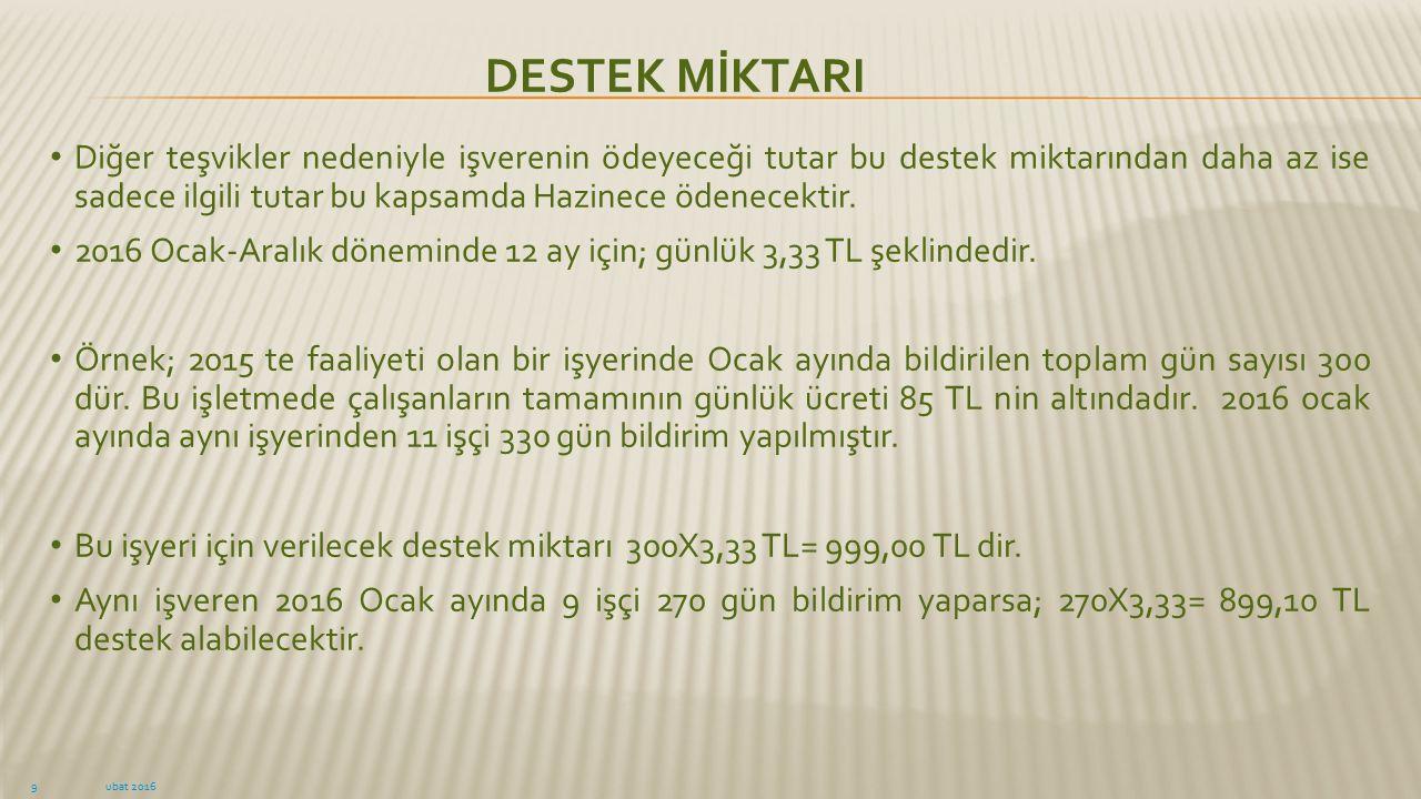 DESTEK MİKTARI