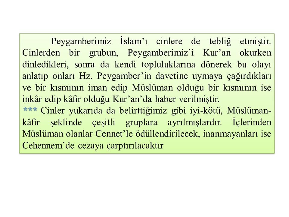 Peygamberimiz İslam'ı cinlere de tebliğ etmiştir