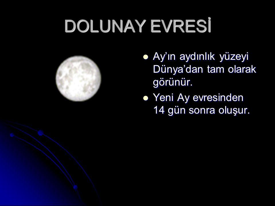 DOLUNAY EVRESİ Ay'ın aydınlık yüzeyi Dünya'dan tam olarak görünür.