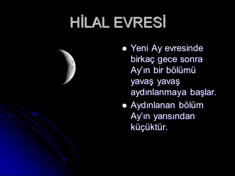 HİLAL EVRESİ Yeni Ay evresinde birkaç gece sonra Ay'ın bir bölümü yavaş yavaş aydınlanmaya başlar.