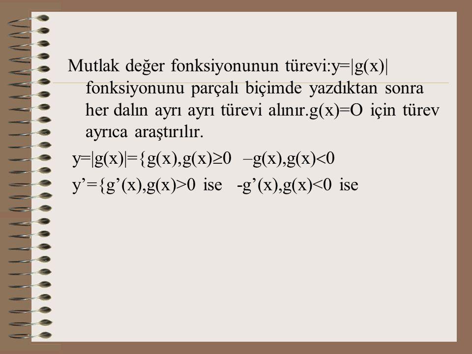 Mutlak değer fonksiyonunun türevi:y=|g(x)| fonksiyonunu parçalı biçimde yazdıktan sonra her dalın ayrı ayrı türevi alınır.g(x)=O için türev ayrıca araştırılır.