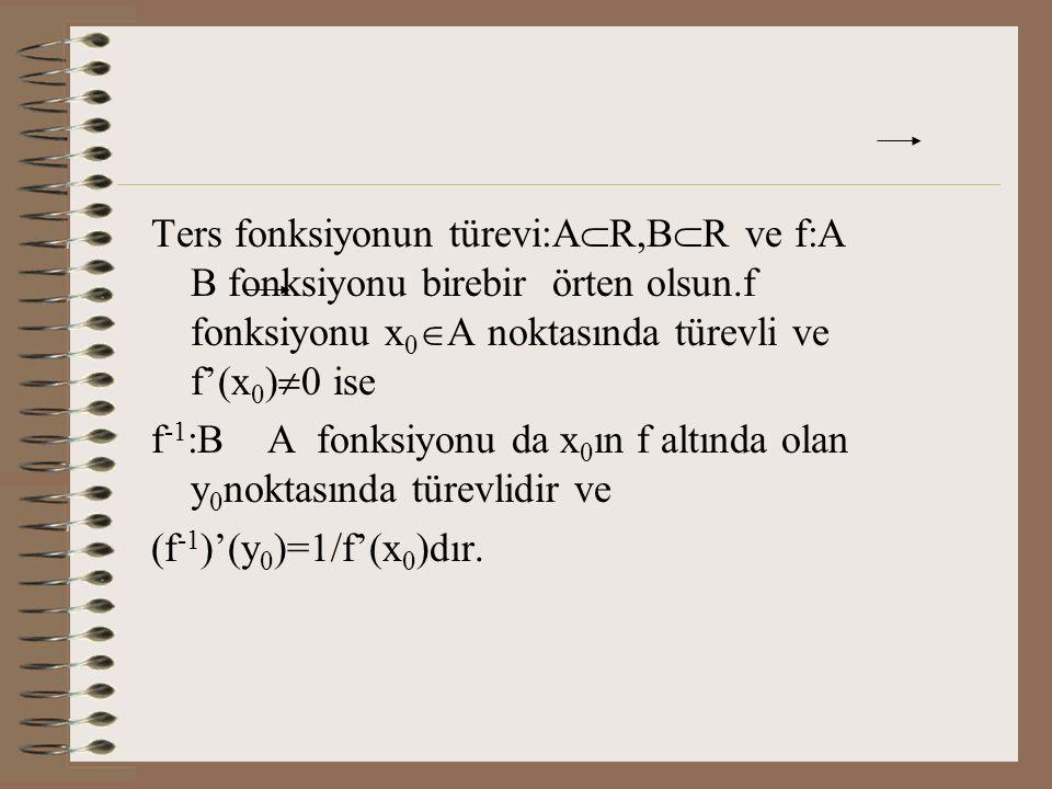 Ters fonksiyonun türevi:AR,BR ve f:A B fonksiyonu birebir örten olsun.f fonksiyonu x0A noktasında türevli ve f'(x0)0 ise