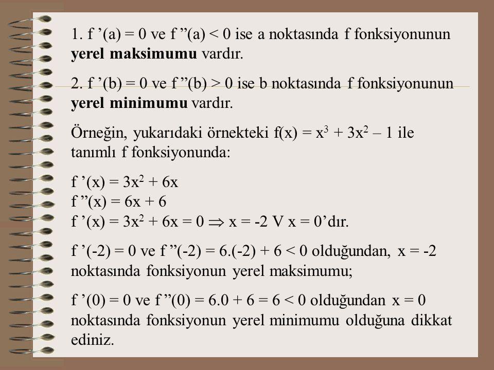 1. f '(a) = 0 ve f (a) < 0 ise a noktasında f fonksiyonunun yerel maksimumu vardır.