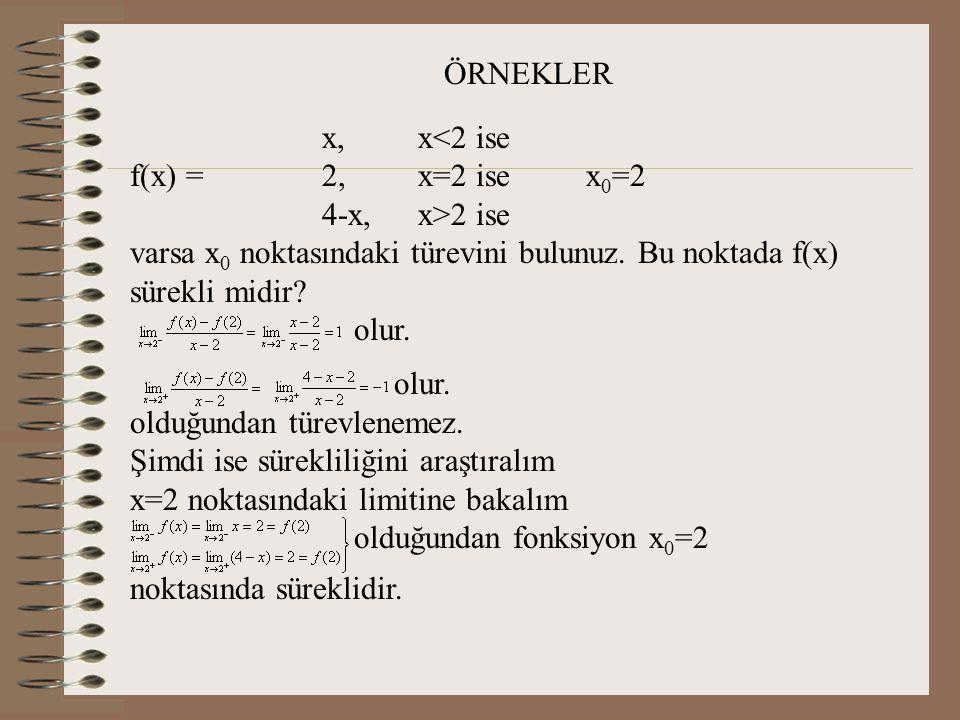 ÖRNEKLER x, x<2 ise. f(x) = 2, x=2 ise x0=2. 4-x, x>2 ise. varsa x0 noktasındaki türevini bulunuz. Bu noktada f(x) sürekli midir