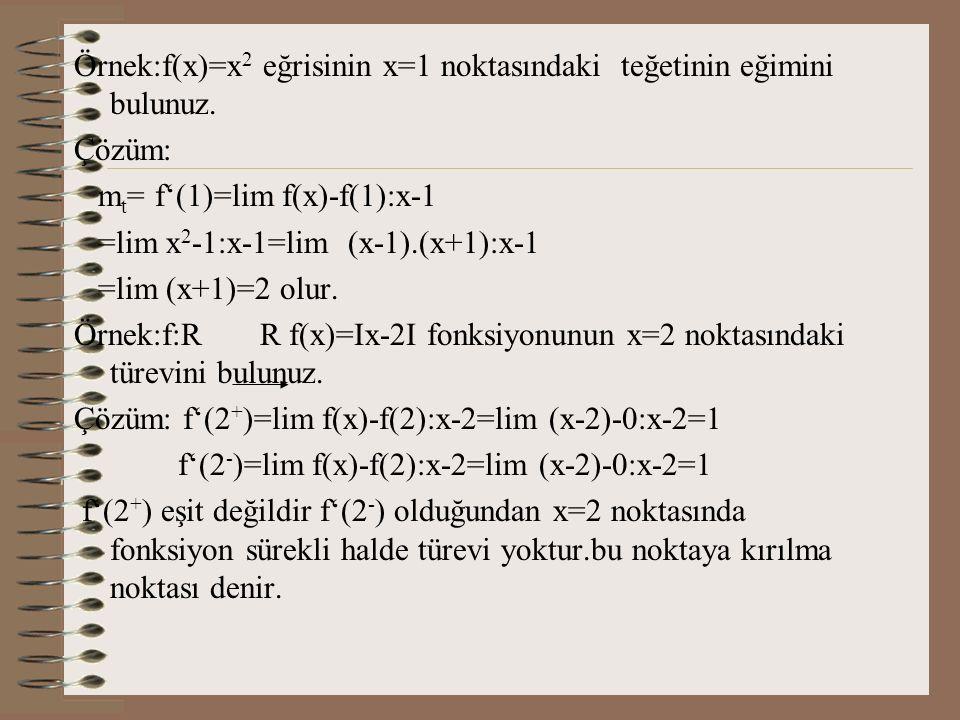 Örnek:f(x)=x2 eğrisinin x=1 noktasındaki teğetinin eğimini bulunuz.