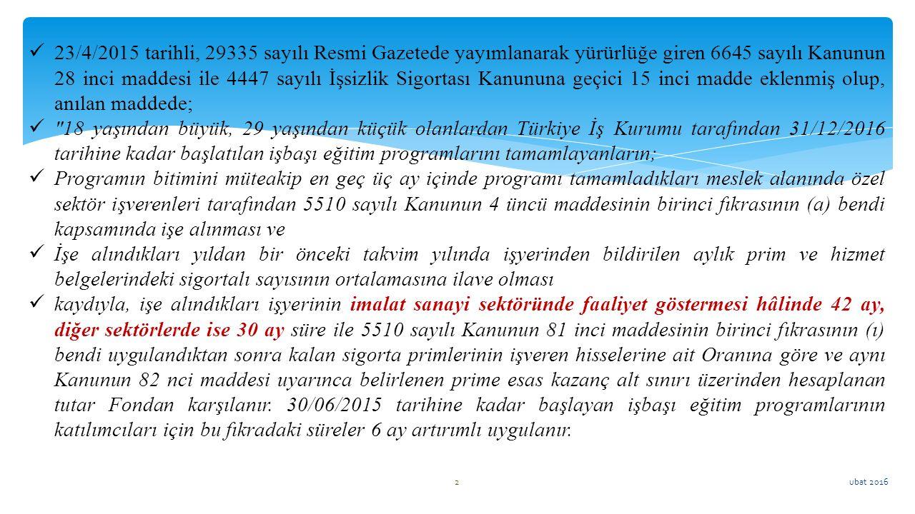 23/4/2015 tarihli, 29335 sayılı Resmi Gazetede yayımlanarak yürürlüğe giren 6645 sayılı Kanunun 28 inci maddesi ile 4447 sayılı İşsizlik Sigortası Kanununa geçici 15 inci madde eklenmiş olup, anılan maddede;