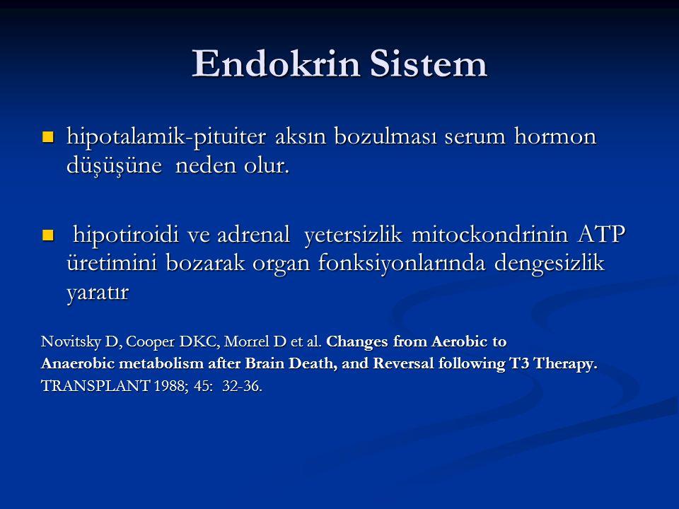 Endokrin Sistem hipotalamik-pituiter aksın bozulması serum hormon düşüşüne neden olur.