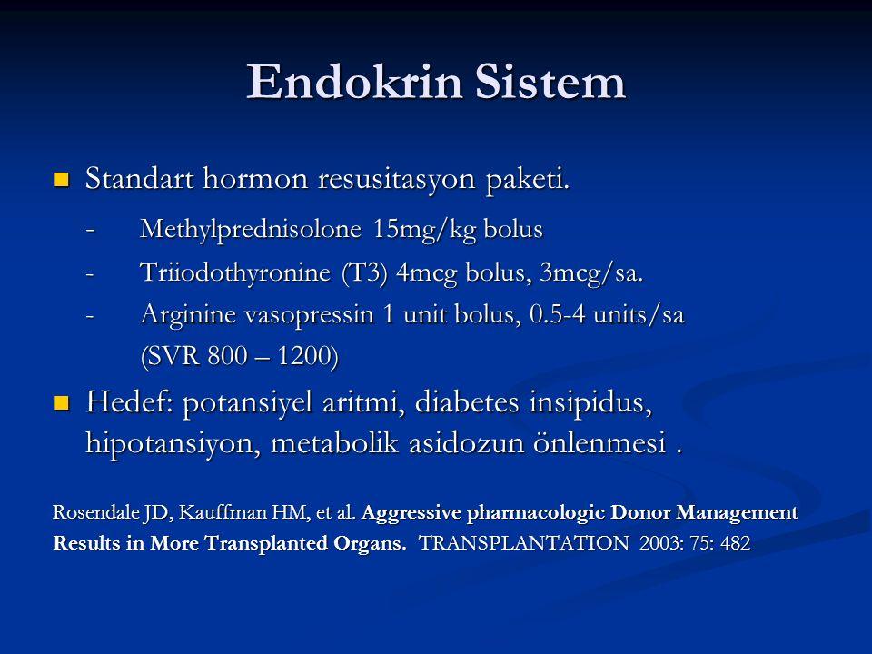 Endokrin Sistem Standart hormon resusitasyon paketi.