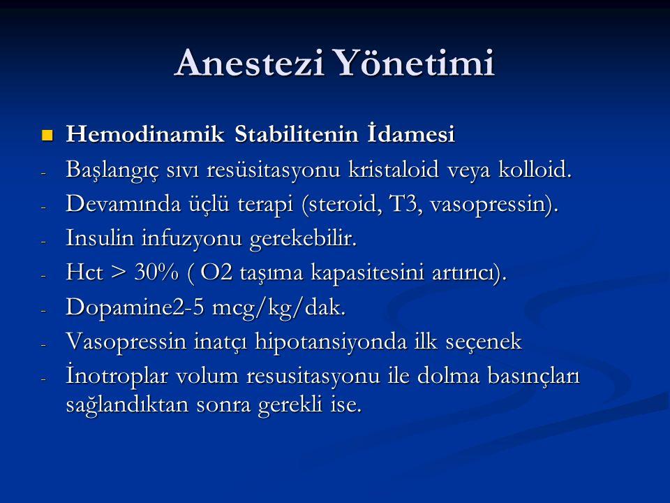 Anestezi Yönetimi Hemodinamik Stabilitenin İdamesi