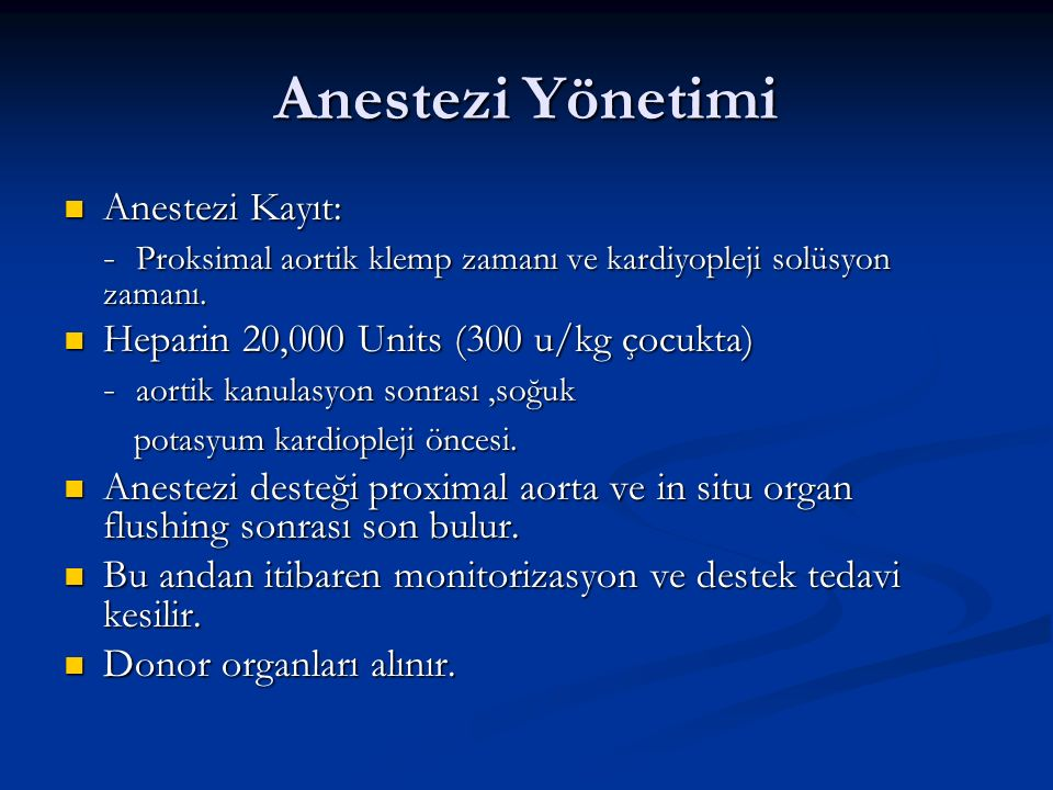 Anestezi Yönetimi Anestezi Kayıt: