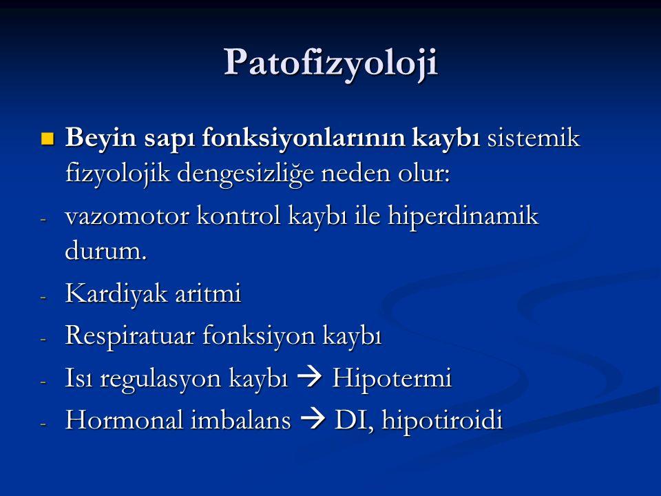 Patofizyoloji Beyin sapı fonksiyonlarının kaybı sistemik fizyolojik dengesizliğe neden olur: vazomotor kontrol kaybı ile hiperdinamik durum.
