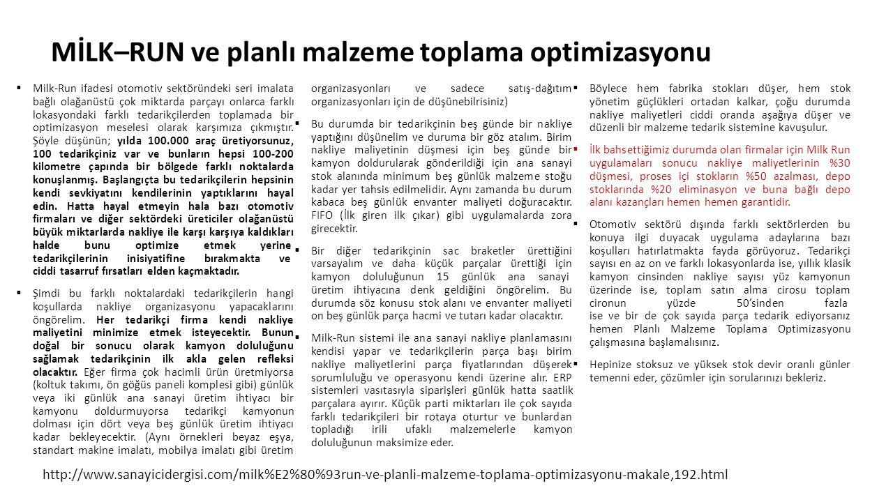 MİLK–RUN ve planlı malzeme toplama optimizasyonu