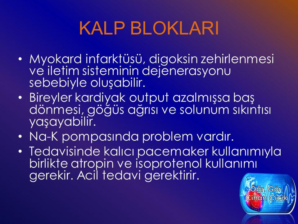 KALP BLOKLARI Myokard infarktüsü, digoksin zehirlenmesi ve iletim sisteminin dejenerasyonu sebebiyle oluşabilir.
