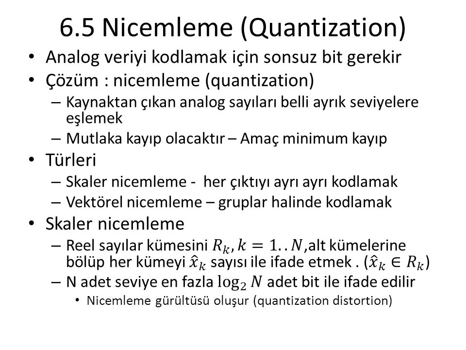 6.5 Nicemleme (Quantization)
