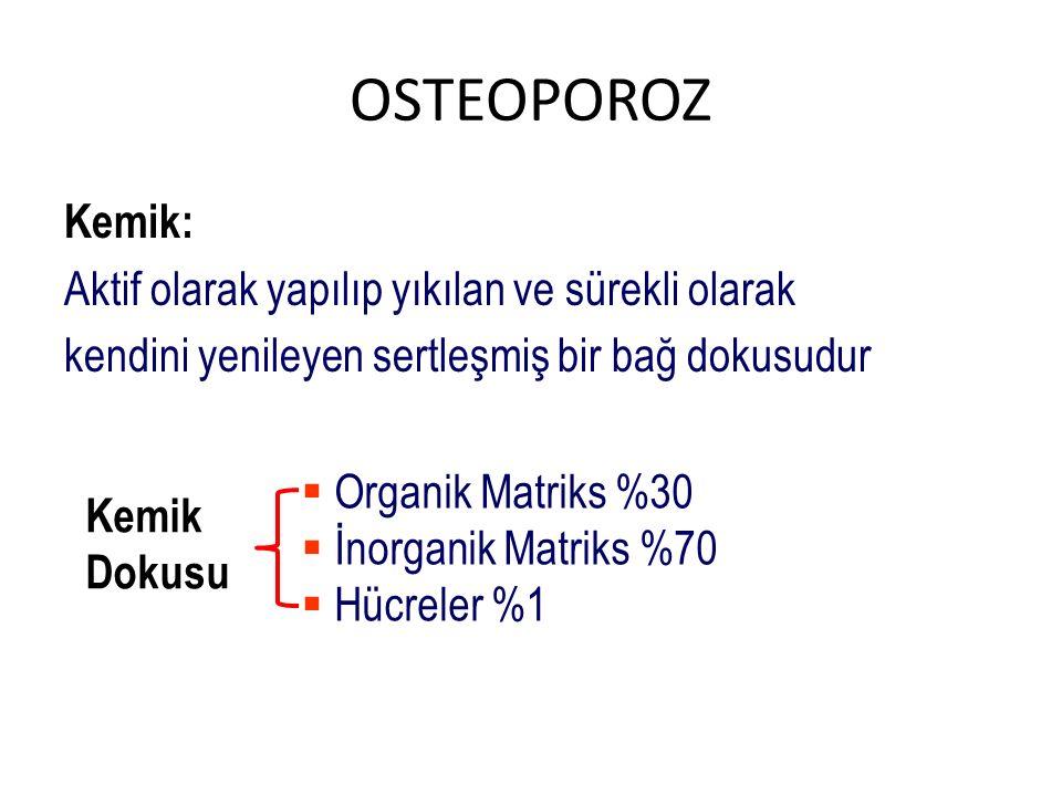 OSTEOPOROZ Kemik: Aktif olarak yapılıp yıkılan ve sürekli olarak kendini yenileyen sertleşmiş bir bağ dokusudur