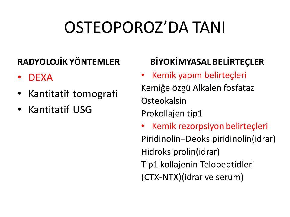 OSTEOPOROZ'DA TANI DEXA Kantitatif tomografi Kantitatif USG