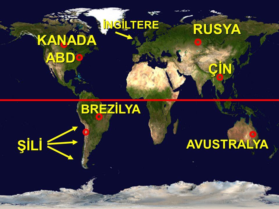 İNGİLTERE RUSYA KANADA ABD ÇİN BREZİLYA ŞİLİ AVUSTRALYA