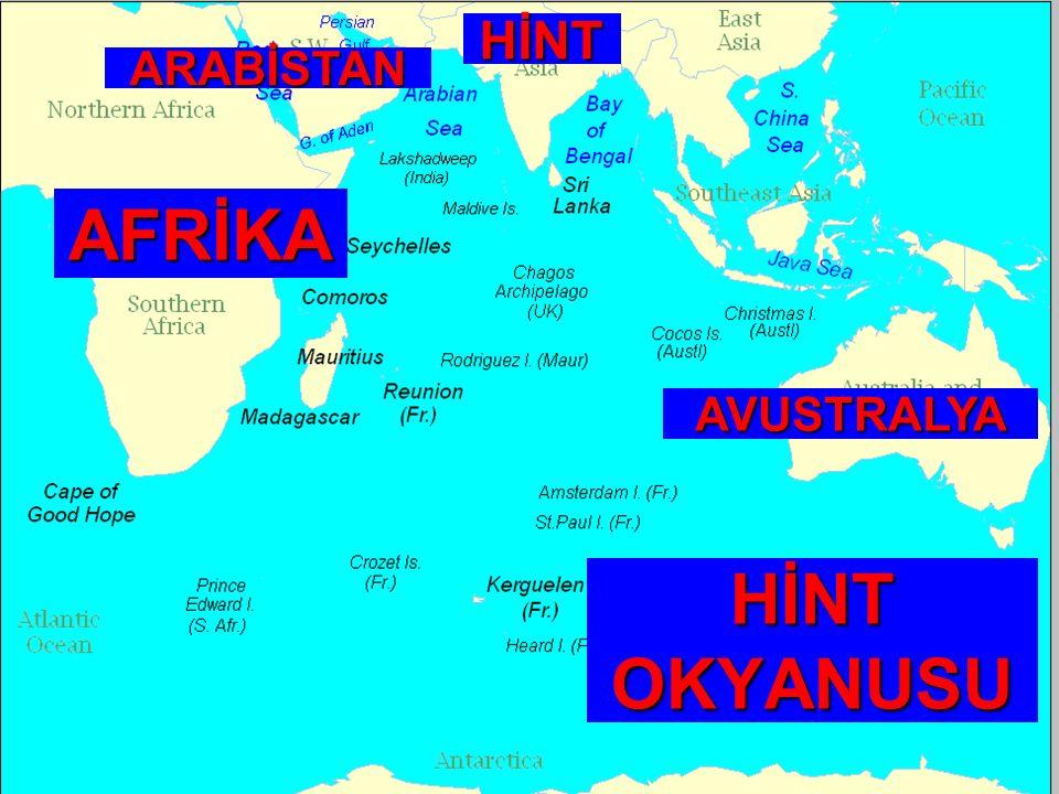 HİNT ARABİSTAN AFRİKA AVUSTRALYA HİNT OKYANUSU