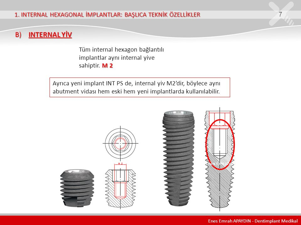 1. INTERNAL HEXAGONAL İMPLANTLAR: BAŞLICA TEKNİK ÖZELLİKLER