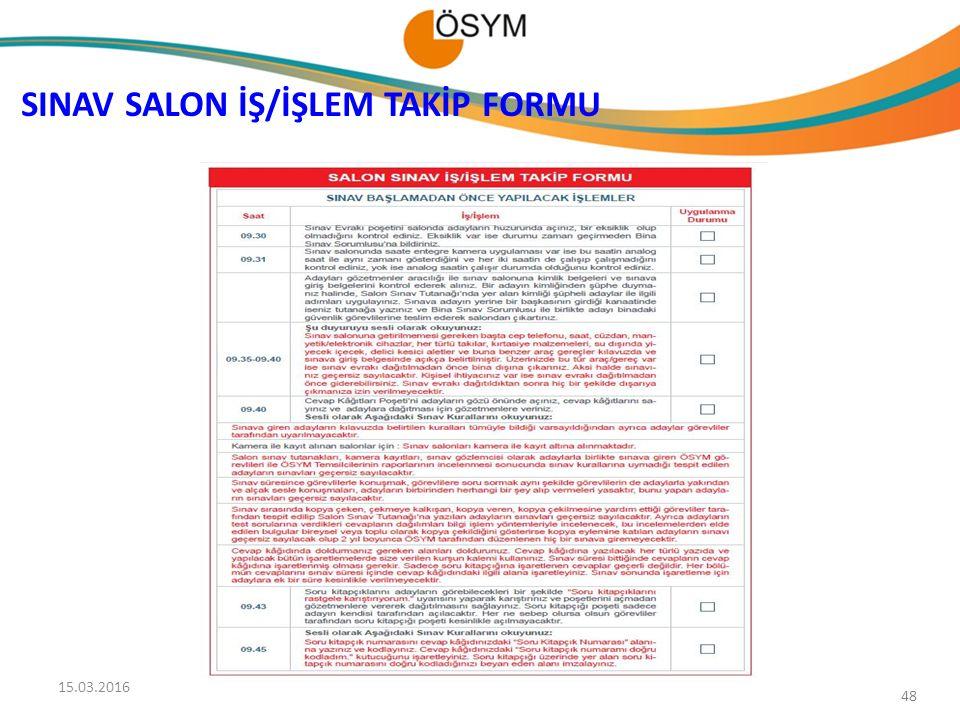 SINAV SALON İŞ/İŞLEM TAKİP FORMU