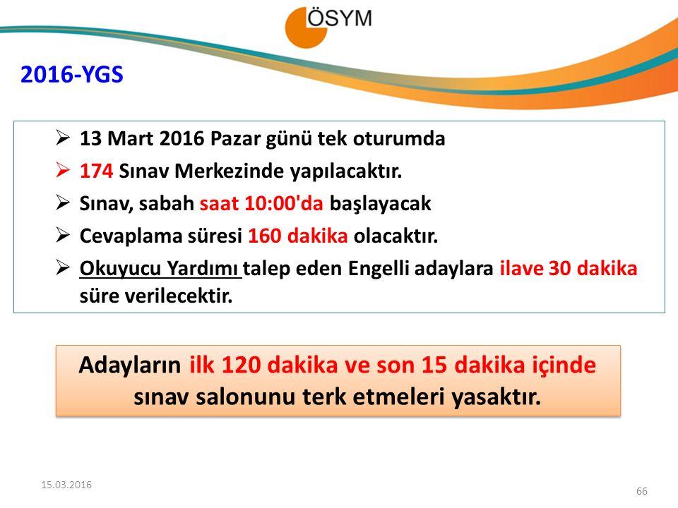 2016-YGS 13 Mart 2016 Pazar günü tek oturumda. 174 Sınav Merkezinde yapılacaktır. Sınav, sabah saat 10:00 da başlayacak.