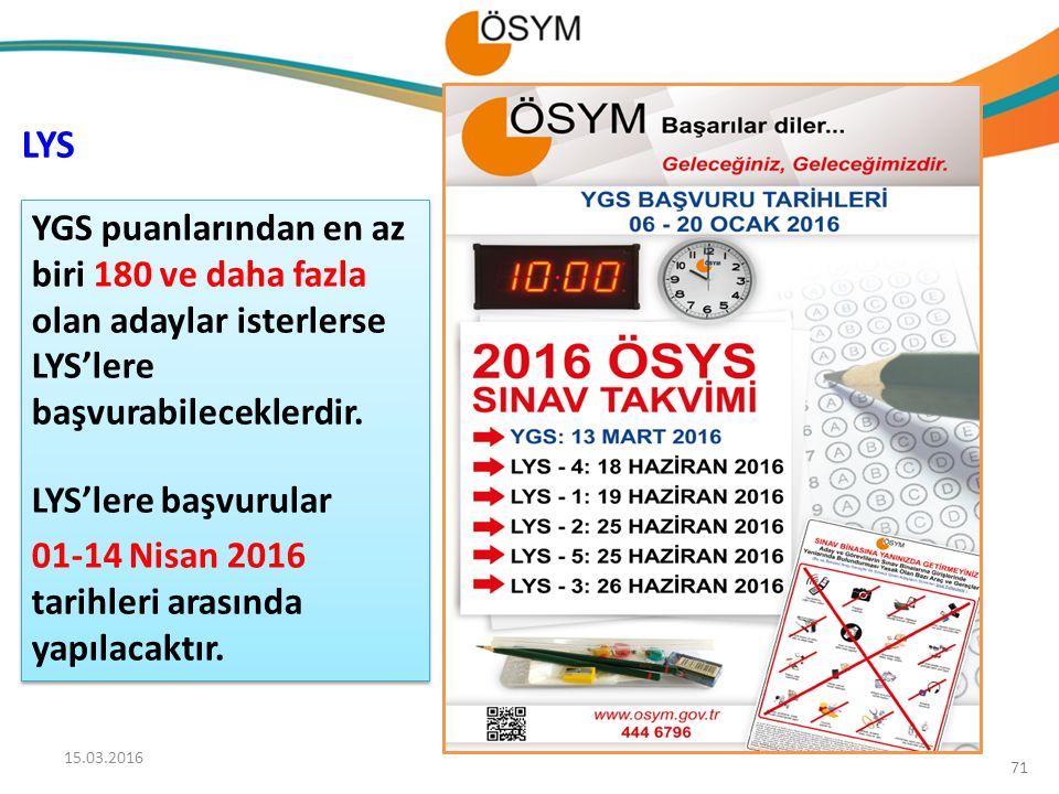 LYS YGS puanlarından en az biri 180 ve daha fazla olan adaylar isterlerse LYS'lere başvurabileceklerdir.