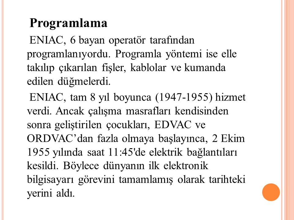 Programlama ENIAC, 6 bayan operatör tarafından programlanıyordu