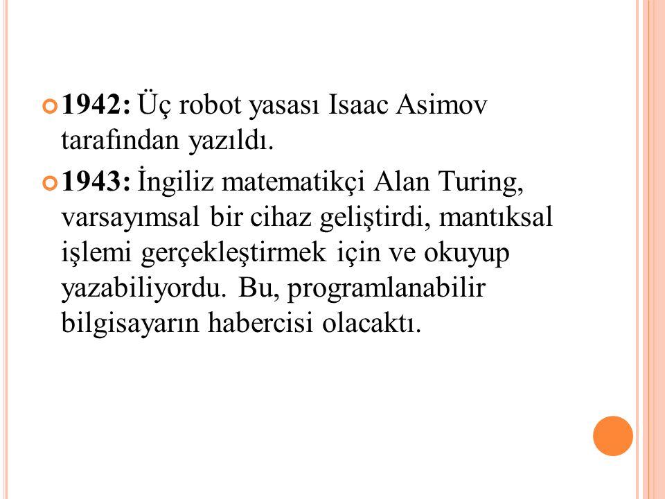 1942: Üç robot yasası Isaac Asimov tarafından yazıldı.