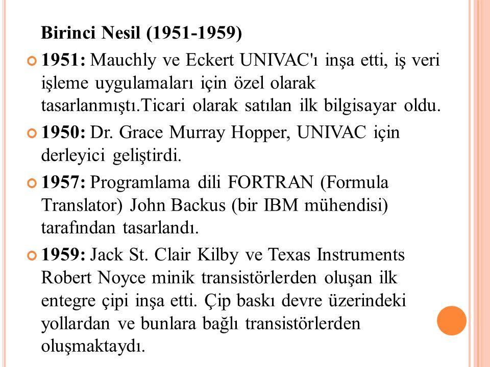 Birinci Nesil (1951-1959)