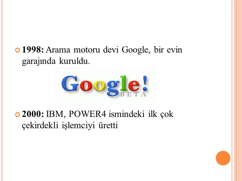 1998: Arama motoru devi Google, bir evin garajında kuruldu.
