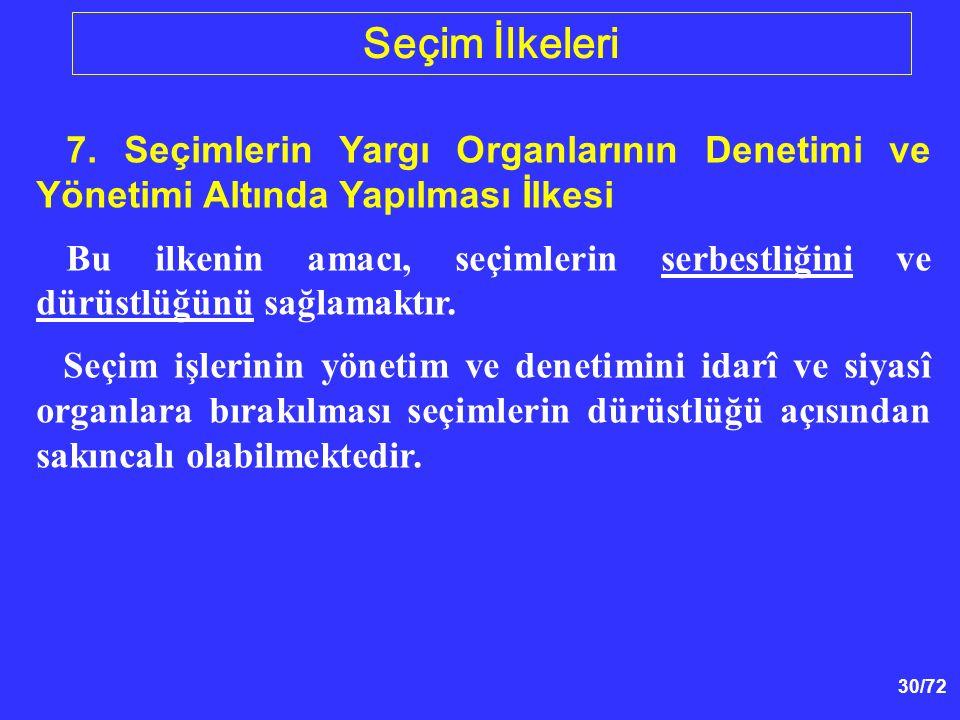 Seçim İlkeleri 7. Seçimlerin Yargı Organlarının Denetimi ve Yönetimi Altında Yapılması İlkesi.