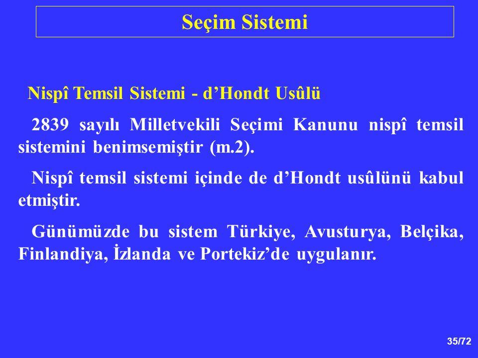 Seçim Sistemi Nispî Temsil Sistemi - d'Hondt Usûlü