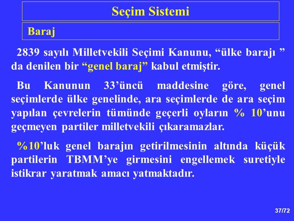 Seçim Sistemi Baraj. 2839 sayılı Milletvekili Seçimi Kanunu, ülke barajı da denilen bir genel baraj kabul etmiştir.