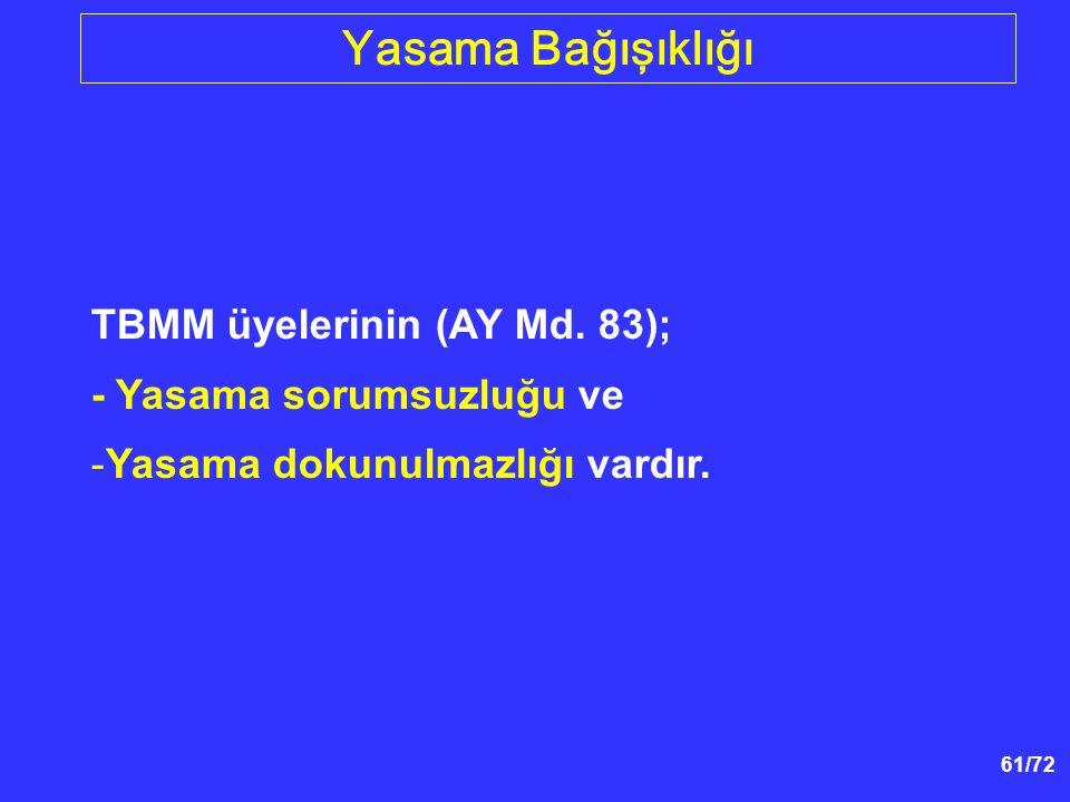 Yasama Bağışıklığı TBMM üyelerinin (AY Md. 83);
