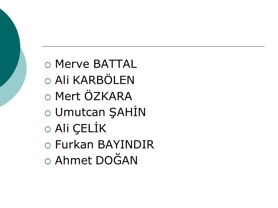 Merve BATTAL Ali KARBÖLEN Mert ÖZKARA Umutcan ŞAHİN Ali ÇELİK Furkan BAYINDIR Ahmet DOĞAN